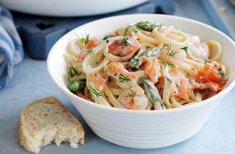 Smoked Salmon And Prawn Linguine Tesco Real Food Recipe Salmon Pasta Pasta Recipes Salmon Pasta Recipes