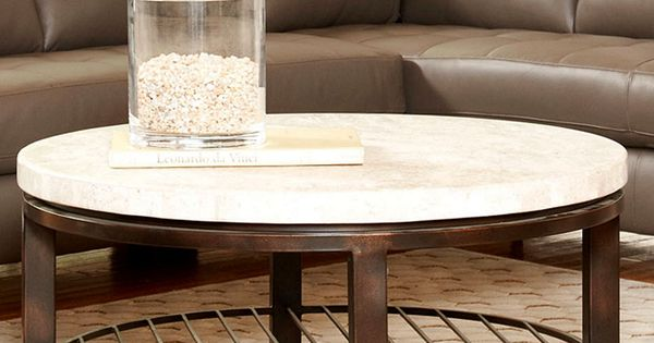 Tempo Travertine Table Collection Round Coffee Console