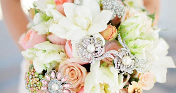 Stunning wedding bouquet with a bit of sparkle added in - that's