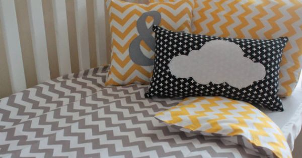 new grey and yellow chevron cot quilt cover, baby quilt cover