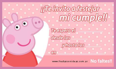 Tarjeta De Cumpleaños De Peppa Pig Invitaciones De Peppa