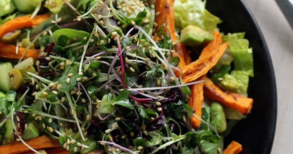 Greens, Sprouts & Sweet Potato Salad recipe