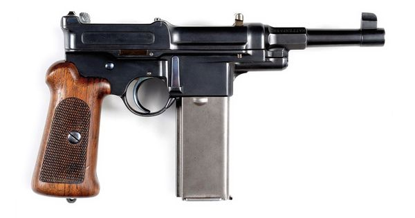 This is an exceptionally rare Mauser M1906-08 self-loading pistol with a 20-round magazine ...