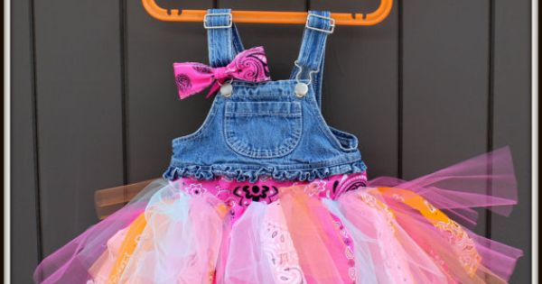 Overalls Tutu Dress - Strips of tulle and bandana on a set