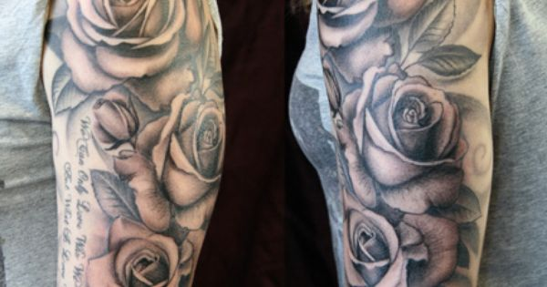 rose sleeve tattoo idea