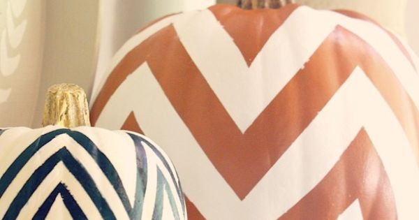 DIY Chevron pumpkins by My Sweet Savannah. Such a cute decor idea!