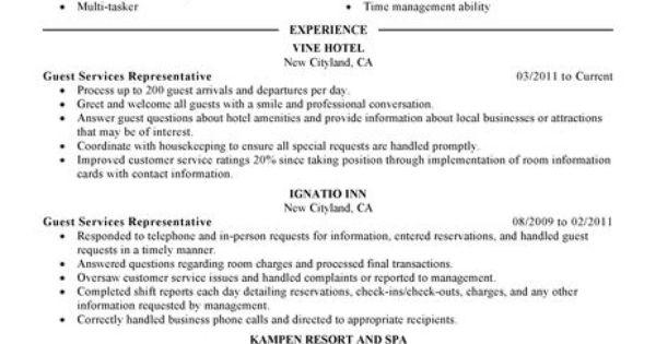 Guest Service Representative Resume Example