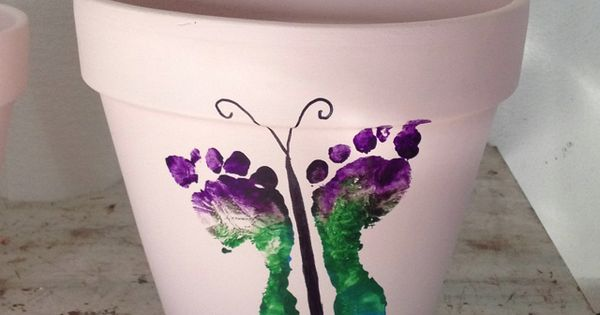 Butterfly foot print flower pots. Great mothers day gift for grandmas &