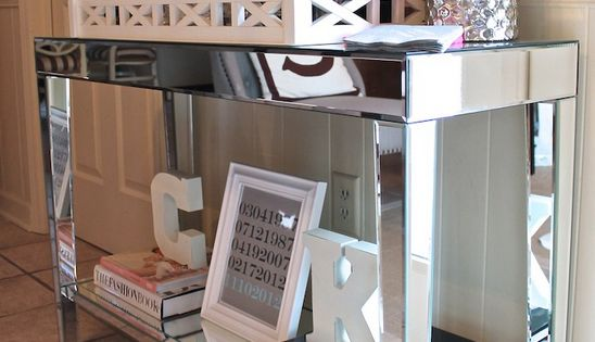 "----""MINI BAR"" ON CONSOLE TABLE INSTEAD OF CART, PERFECT MIRRORED TABLE WITH"