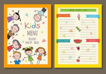اطفال مطعم القائمة الغطاء داخل صفحة ناقلات المواد Kids Menu Menu Card Design Restaurant Menu Covers