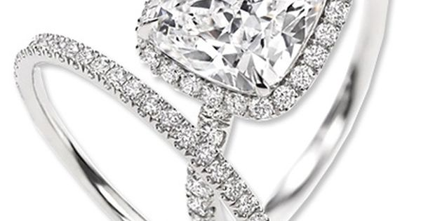 Harry Winston Cushion Cut Micropavé diamond engagement ring and wedding band. i