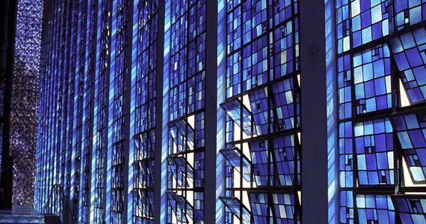 blue leaded glass windows Dos Bosco chapel in Brasilia, Brazil