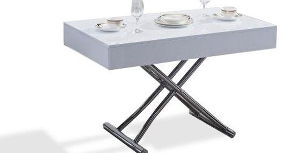 Table Basse Relevable Cube Blanche Brillante Extensible 12 Couverts Table Basse Relevable Table Basse Relevable Extensible Table Basse