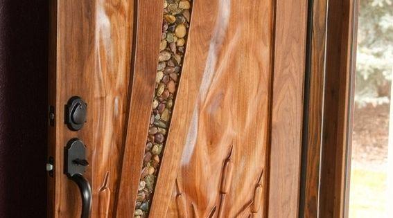Custom Made Walnut Entry Door Glass With River Rocks