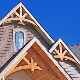 Unstained Cedar Gables 12 12 Pitch Corbels Exterior Roof Design Farmhouse Exterior