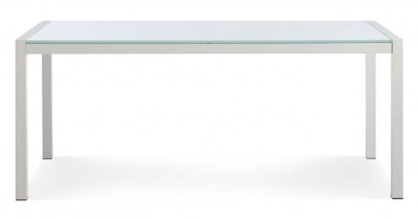 Skiff-outdoor-modern-table-glass. Crisp Minimal White