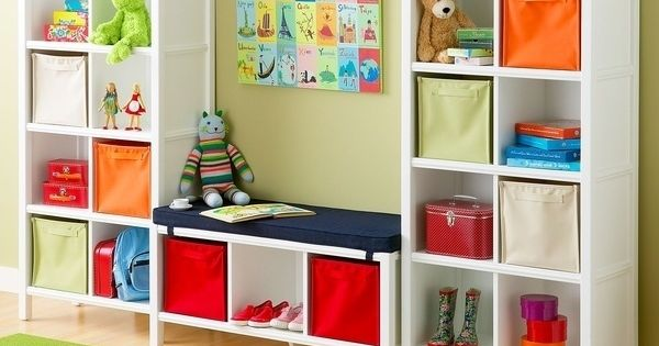 Or place a bench seat between two bookshelves. | 41 Clever Organizational