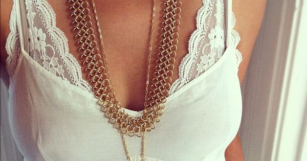 Stitch lace to spaghetti straps - I always love those tank tops