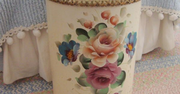 Roses tole wastebasket cream floral reticulated shabby painted chic via etsy - Shabby chic wastebasket ...