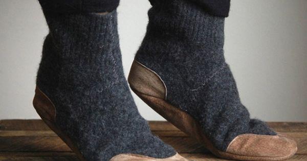 Mens Wool Slipper Socks - Comfortably warm - Suede leather bottom -