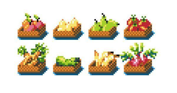 PixelArt Baskets Of vegetables And fruits Kitchen