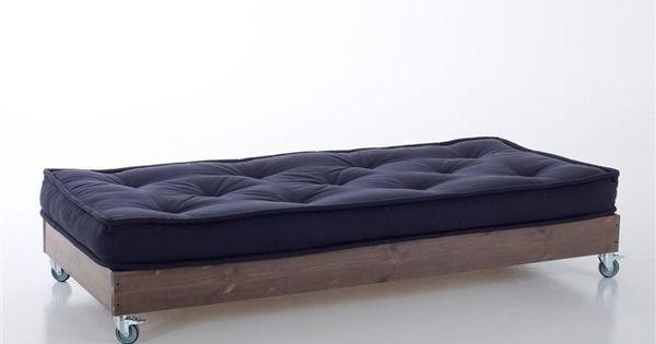 Hiba banquette roulettes 123 longueur 143 cm hauteur 24 5 cm profon - Matelas 3 suisses soldes ...
