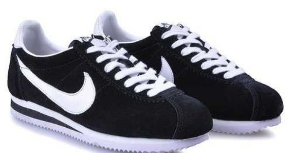 black and white nike cortez nylon