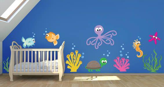 Vibrant Blues Mermaid Swimming w Fish Wall Decal