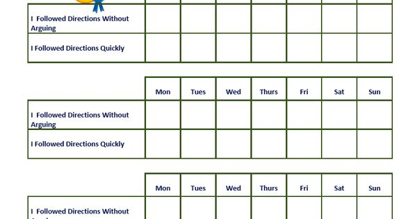 sticker chart for following directions without arguing and