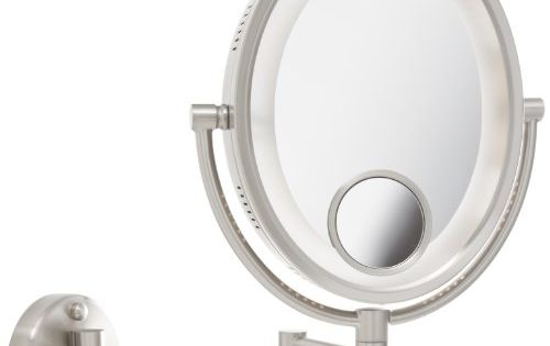 Jerdon 8 Inch Lighted Wall Mount Oval Makeup Mirror With 10x And 15x Magnification Ni Wall Mounted Makeup Mirror Makeup Mirror With Lights Wall Mounted Mirror