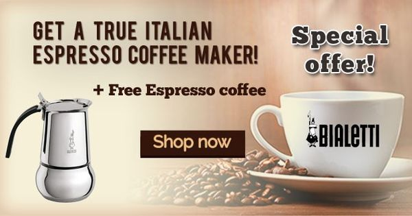 Free Coffee Maker With Coffee Purchase : Get Free Espresso Coffee with the purchase of a True Italian Espresso Coffee maker Bialetti ...