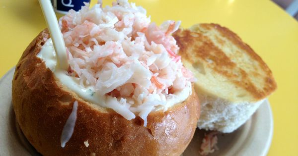 Clam Chowder Bread Bowl topped with Lobster and Shrimp - Splash Cafe,