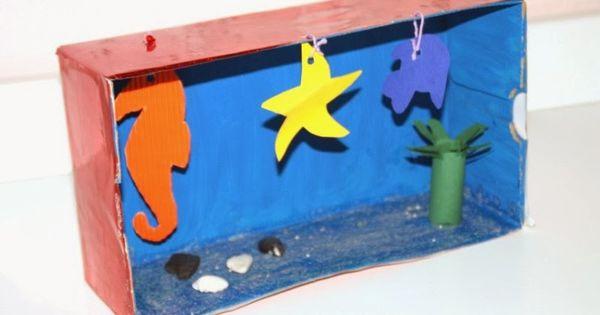 aquarium aus einem schuhkarton make your own aquarium ideas for school pinterest. Black Bedroom Furniture Sets. Home Design Ideas