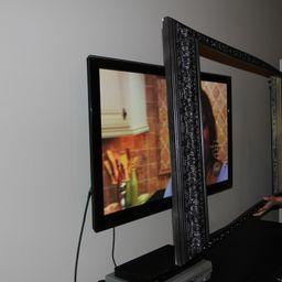 Pin By Sherrie Yvette On Wanna Make Frame Around Tv Framed Tv Bathroom Mirror Frame