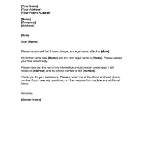Name Change Notification Letter Template Stolen Identity Name Letters Name Change