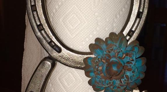 Horseshoe paper towel holder can be customized to go with for Horseshoe kitchen decor