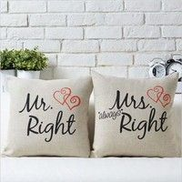Fashion Mr Right Mrs Always Right Print Cotton Home Pillow Case