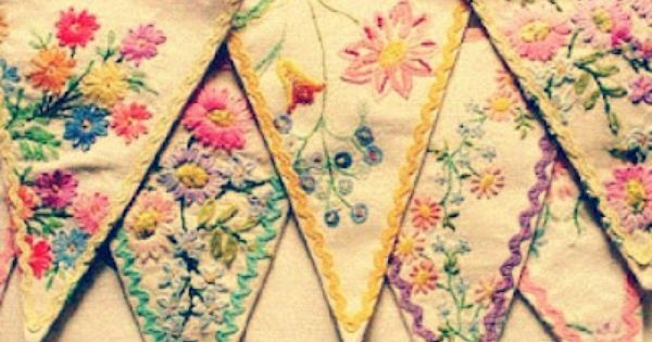 embroidery linens made into bunting / banner vintage textiles into bunting...from Feeling