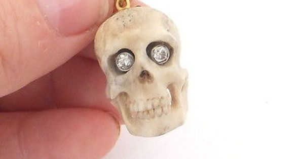 14ct 14k Gold Diamond Eyed Antique Carved Bone Skull Pendant 585 Skull Pendant Diamond Eyes Magic Charms