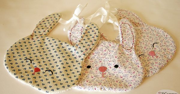 DIY bunny baby bibs—no pattern.