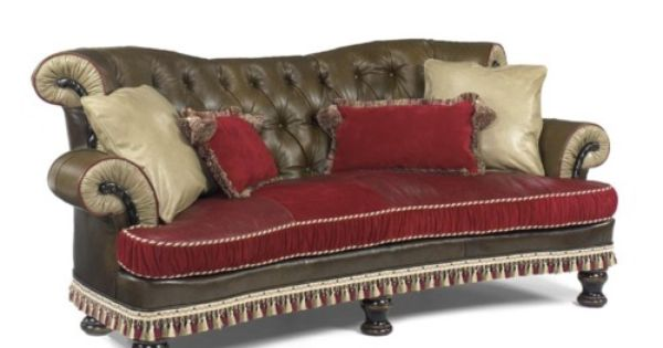 Tufted Leather Sofa With Single Long Cushion Covered In