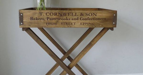 Wooden butler 39 s tray table by cooper rowe vintage living for Wooden canape trays