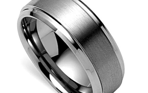 Mens Wedding Band, Tungsten Ring, Titanium Color Ring, Satin Engagement Ring (8mm)