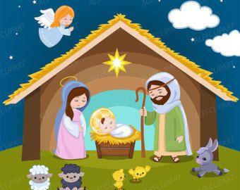 Nativity 1 Digital Clipart Set Navidad Clipart Nacimiento Etsy Nativity Clipart Christmas Clipart Christmas Angels