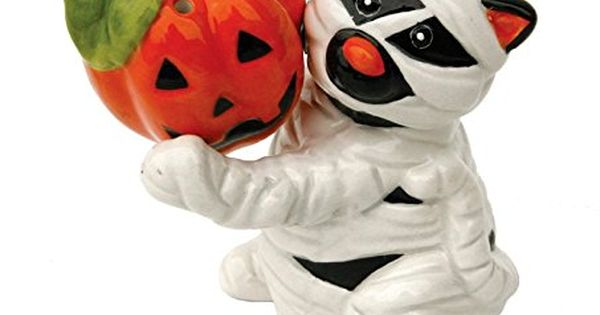 Halloween Mummy Cat And Jack O Lantern Magnetic Ceramic