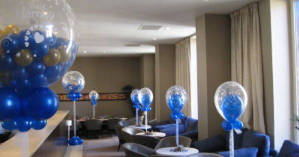 Royal blue and silver centerpieces single double bubbe