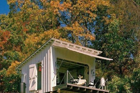 Shed cabin with garage door great indoor outdoor space for Shack at hinkle farm