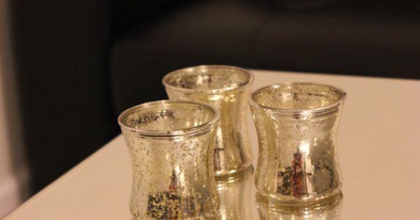 10 Gold Mercury Glass Style Votive Candle Holder Painted Tea Light Mini Vase Vintage Wedding