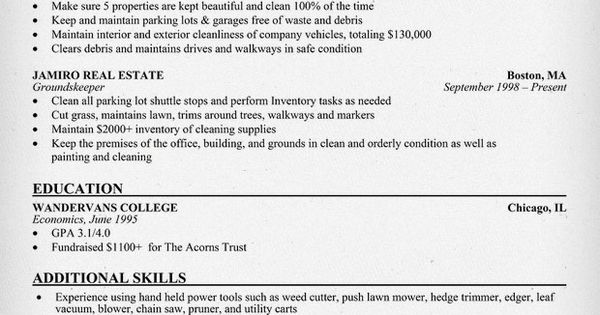 groundskeeper resume example resumecompanioncom book pinterest resume examples and resume