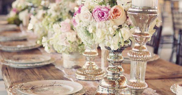 Wedding table place settings, mercury glass candlesticks, elegant barn/rustic wedding. -- Plates,